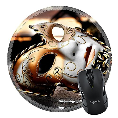 Abstract Concept Halloween Costume (MSD Mousepad Round Mouse Pad/Mat 25370361 Venetian Mask by the River Bridge with Sunset)