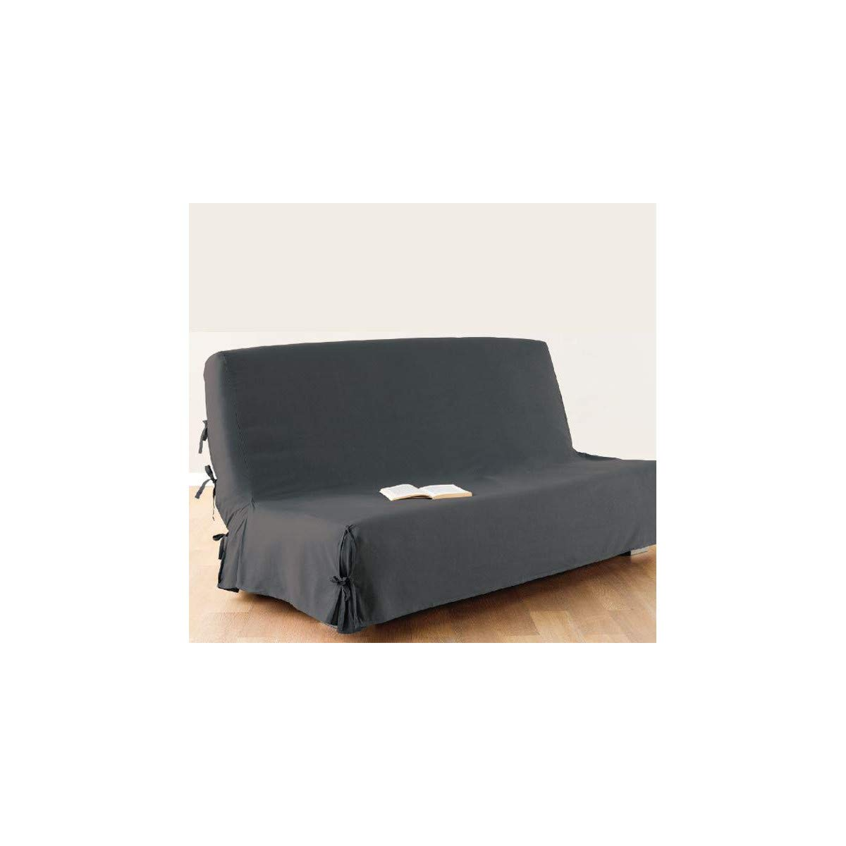 Sofa bed / Futon cover - 100 % cotton - colour DARK GREY ATMOSPHERA