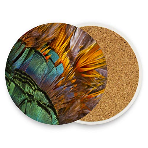 (Coasters for Drinks,Golden Pheasant Feather Ceramic Round Cork Trivet Heat Resistant Hot Pads Table Cup Mat Coaster-Set of 4 Pieces)