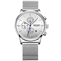 Megir Mens Stainless Steel Mesh Band Business Luminous Chronograph Quartz Wrist Watches