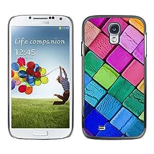 QCASE / Samsung Galaxy S4 I9500 / colores lápices de colores neón gráfico del arte de rosa púrpura / Delgado Negro Plástico caso cubierta Shell Armor Funda Case Cover