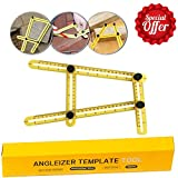 Multi Angle Measuring Ruler with Unique Line Level, Embedded Metal Bolts and Nuts,General Angleizer Template Tool Protra-Watcher Extreme Ruler