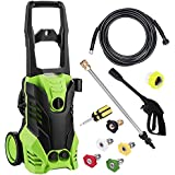 Meditool MT3 Electric Power Pressure Washer, 3000 PSI 1.8 GPM Electric Pressure Washer, Power Washer with Adjustable 5 Spray Nozzles, Onboard Detergent Tank, with 2 Rolling Wheels, 1800W
