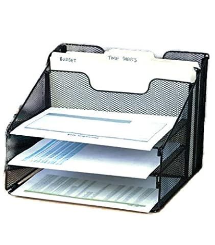 GOOD ACTIVE Black Mesh Desktop File Organizer W/5 Compartments Office Supply Storage Holder (Expedite Shipping)