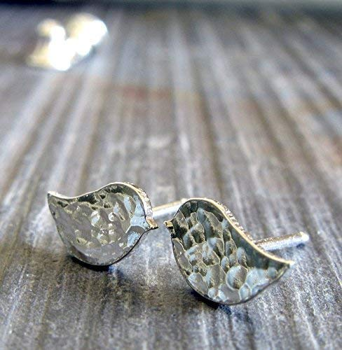 Little bird stud earrings. Polished sterling silver hammered post jewelry. Handmade in the USA.