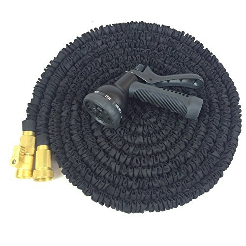 SUNNORS 100' Expanding Hose, Strongest Expandable Garden Hose on the Planet TPS materialSolid Brass Ends, Double Latex Core, Extra Strength Fabric, 2016 design Fathers Day Gift