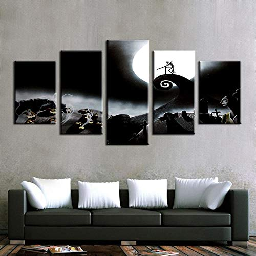Yyjyxd Modular Canvas Paintings Home Decor Frame 5 Pieces Nightmare Before Christmas Poster Prints Halloween Pictures Bedroom Wall Art -8 x 14/18/22inch,with Frame]()