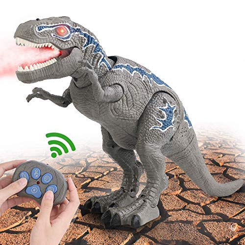 FANURY Remote Control Dinosaur Toys for 3-12 Year Old Boys Girls, LED Light Up Walking and Roaring Realistic T-Rex Dinosaur Toy with Glowing Eyes Projection Spray Function for Kids Gifts Age 3+