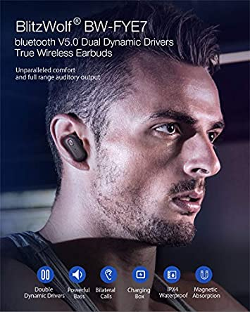 Wireless Earbuds, BlitzWolf Dual Dynamic Drivers Bluetooth 5.0 TWS Earbuds with Charging Case Auto Pairing 3D Stereo Sound in-Ear Bluetooth Headphones for iPhone Android Black