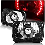 """7""""x6"""" Diamond Cut Black Housing H6054 Sealed Replacement Red LED Headlight Lamps"""