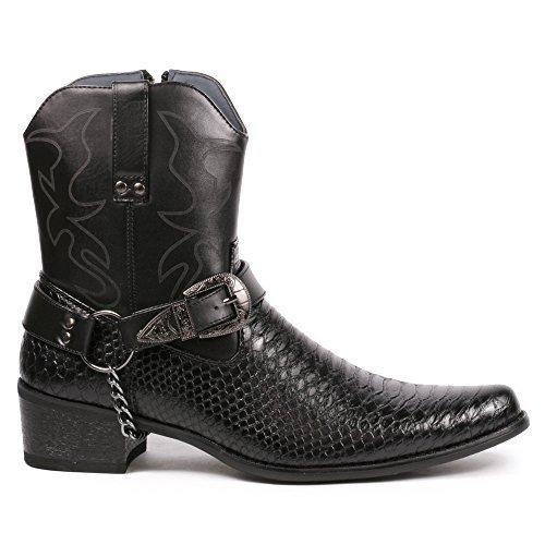 Metrocharm Diego-01 Men's Belt Buckle Chain Strap Western Cowboy Boots (12, Black) -
