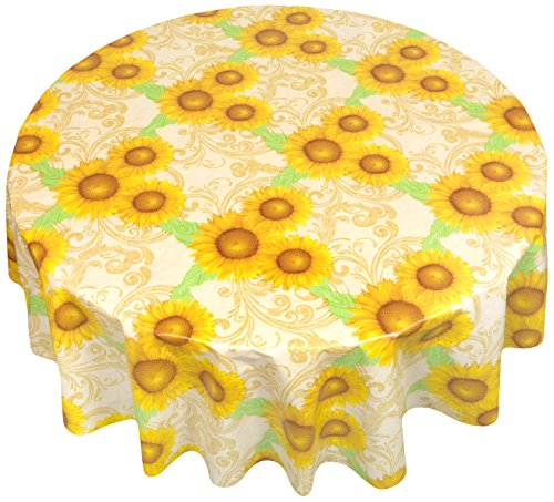 Carnation Home Fashions DFLN-6RD/SU Sunflower Round Vinyl Flannel Backed Tablecloth, 60, Yellow