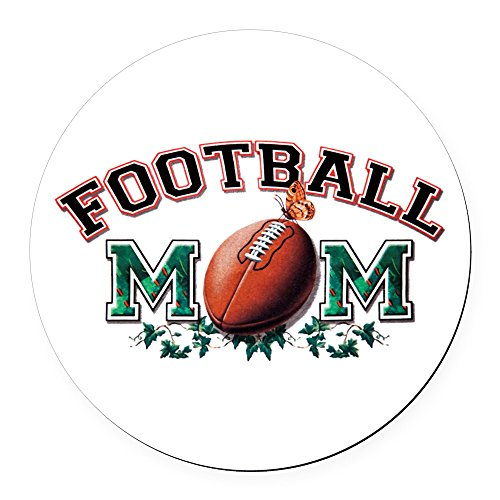 Round Car Magnet 5.5 Inch Football Mom with Ivy
