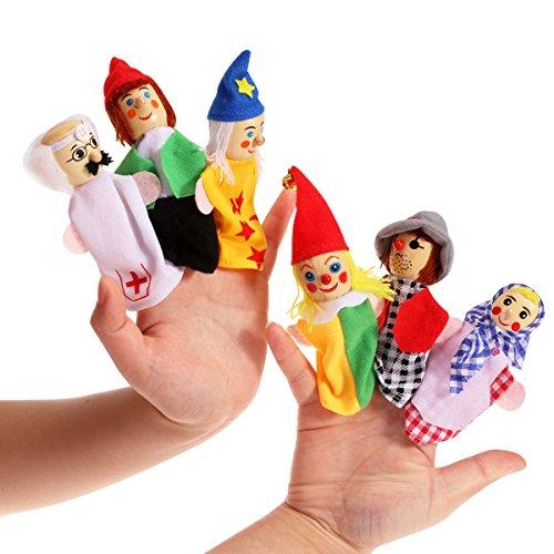 NUOLUX Wooden Finger Puppets Soft Velvet Dolls Props Toys 6pcs Includes Clown/Taoist/Worker/Women/Doctor/Pirates