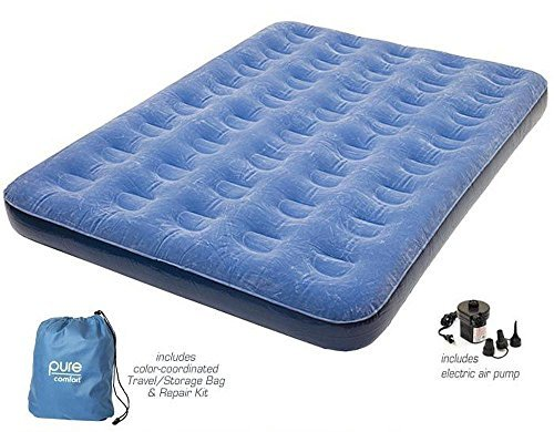 Pure Comfort (FULL SIZE) Low Profile Flock Top Air Mattress Bed with FREE Electric Air Pump Included