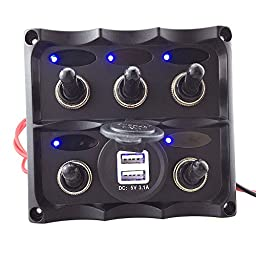 Boat Marine Electric 5 Gang Blue LED Toggle Switch Panel Dual USB Charger 3.1A