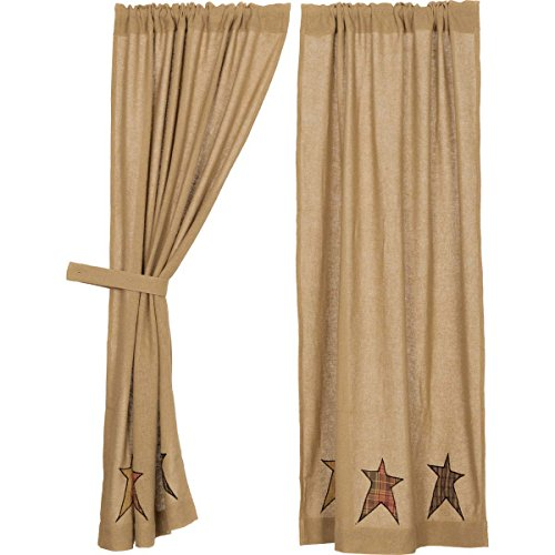 VHC Brands 18000 Stratton Burlap Applique Star Short Panels ()