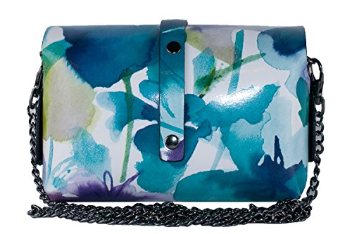 véritable cuir P BORDERLINE Bleu EVELINA en Pochette Floral qtg6wRc7