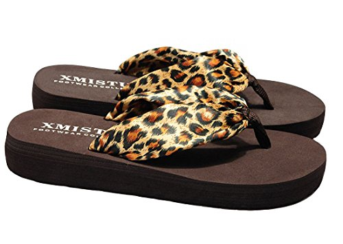 Women Thong Flip-Flops Floral Summer Satin Sandals (US 8.5, (Leopard Satin Sandals)