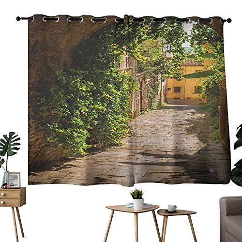 Mannwarehouse Medieval Sliding Curtains Streets of Tuscany Old Mediterranean Middle Age Town European High Culture Italy Darkening and Thermal Insulating 55