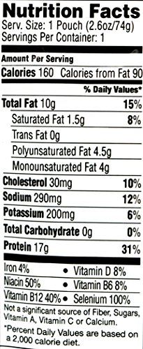 Starkist Chunk Light Tuna In Sunflower Oil, 2.6-Ounce Pouch (Pack of 6) 3 Hand Packed Tuna with Delicately Flavored Sunflower Oil in a No Drain Flavor Fresh Pouch An Excellent Choice for People Who Prefer Tuna Packed in Oil, but are Concerned about Their Health High in Omega-3's, Contains 250mg Per Serving of EPA and DHA Combined, which is 156% of the 160mg Daily Value for a Combination of EPA and DHA