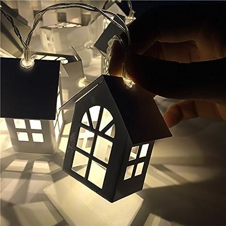 CYH Cadenas de Led luces de Navidad cadena cadena chapado de batería de hierro lámparas de