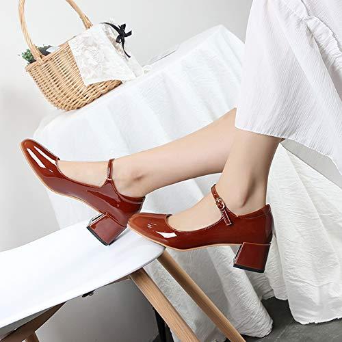 Sandales Mode De Moyen Fte Jane Talon Pour Bureau Femme Mary Qimaoo Chaussures Mariage Femmes Rouge vEAwxEqf8