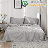 Simple&Opulence Belgian Linen Sheet Set 4PCS Stone Washed Solid Color(Twin,Grey)