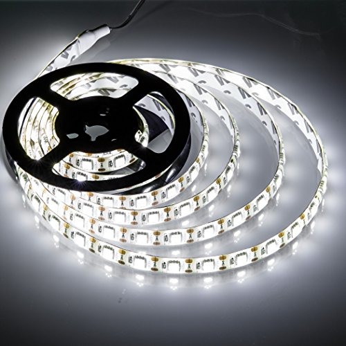 Battery Powered Led Strip Lights,Geekeep Waterproof Flexible LED Light Strips SMD 5050 LED Ribbon Light Mood Light (2M/6.56ft, Cool White) - Led Battery Strip Light