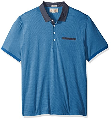 Original Penguin Men's Short Sleeve Striped Polo with Chambray Collar, French Blue, Medium (Penguin Striped Polo Shirt)