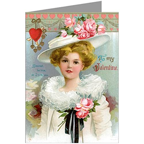 Six Beautiful Romantic Woman Vintage Valentines Day Greeting Card Boxed Set Sales