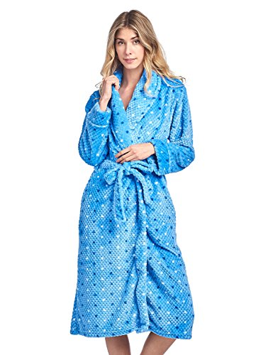 - Casual Nights Women's Dot Long Sleeve Mini Popcorn Fleece Plush Robe - Blue - Large