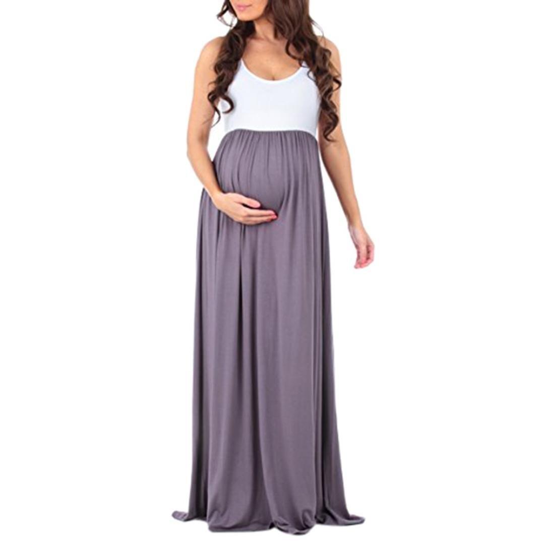 LUCKDE Kleider Damen Schwanger, Umstandskleider Lang Mutterschaft Umstandsmode Sommerkleid Schwangerschaftskleid Bodenlang Umstands Langes Stillkleid Umstandskleidung