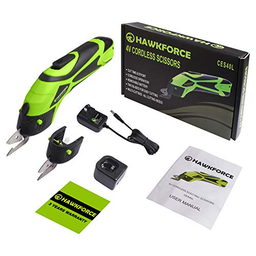 Hawkforce Electric Scissor with 2 PCS Cutting Blades,4V Li-Ion Rechargeable Battery Cordless Power Scissors Box Cutter Shears Cutting Tool for Cutting Fabric, Leather, Carpet and Cardboard