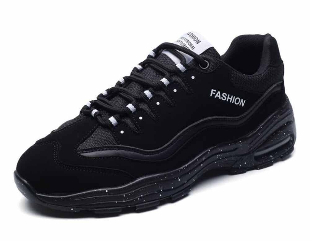 Hombres Respirable Zapatillas De Deporte Otoño Invierno Nuevo PU Casual Zapatos Para Correr ( Color : Black , Size : 40 ) 40|Black