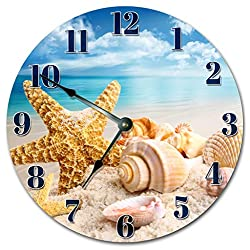 Sugar Vine Art Beach Clock Large 10.5 Wall Clock Decorative Round Ocean Clock Home Decor Novelty Clock SEA SHELLS ON THE BEACH