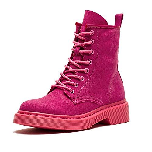 FUFU Damen Stiefel Schneeschuhe Winter Wildleder Wanderschuhe Outdoor Flat Heel Schwarz pink Flat Pink
