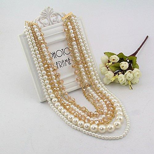 Mode Style Européen Vendu Bien Alliage Cristal Perle Multicouche Pour Vacances Cadeau Femmes Collier