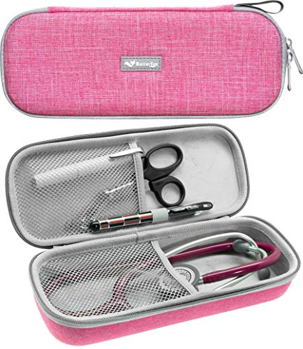 ButterFox Semi Hard Stethoscope Carry Case, fits 3M Littmann Stethoscope and Other Accessories - Available in Black, Blue, Green, Grey, Pink, Purple and Turquoise (Pearl Pink)