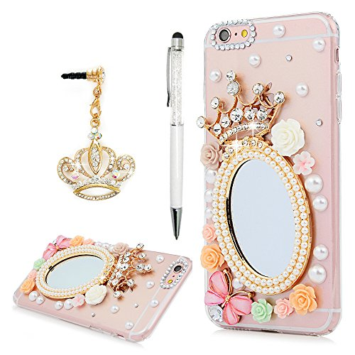 iPhone 6 Plus Case, iPhone 6S Plus Case, Clear Hard PC Plastic Luxury Mirror Case 3D Rhinestones Shiny Bling Crystal Diamonds Crown Florals Full Body Cover Skin Crown Dust Plug (Plastic Transparent Mirror)