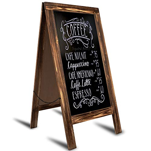 """Chelton Wilson: Rustic A Frame Chalkboard Sign - 40"""" X 20"""" Big Chalk Board Standing Sign for Wedding and Events- Large Sandwich Board Standing Sidewalk Sign for Events, menus, Foot Traffic and More! ()"""