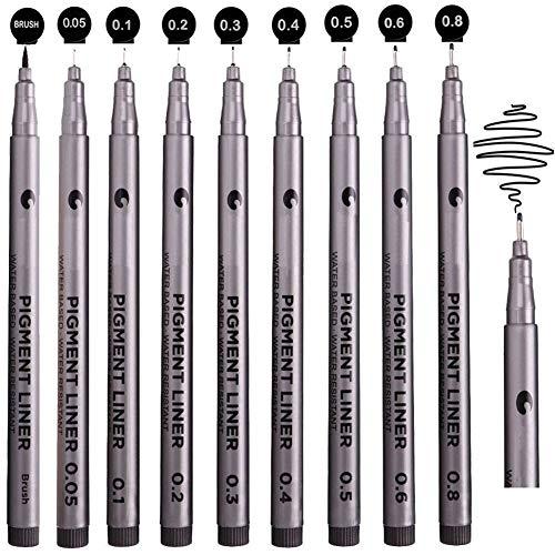 Balai Precision Black Fineliner Ink Micro Pens Waterproof Black Pen Set - Micro-Liner Fineliner Ink Pens for Art Sketching Drawing Writing Drafting Office Documents Comic Manga Scrapbooking 9Pcs/Set
