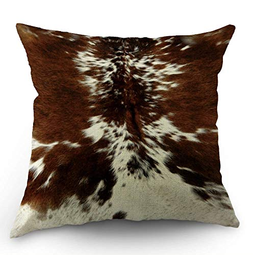 - HL HLPPC Print Cowhide Throw Pillow Case Farm Animal Tri Color Brown Cow Cotton Linen Cushion Cover 18 x 18 Inches Standard Square Decorative Pillow Cover for Sofa and Bed One Side Print