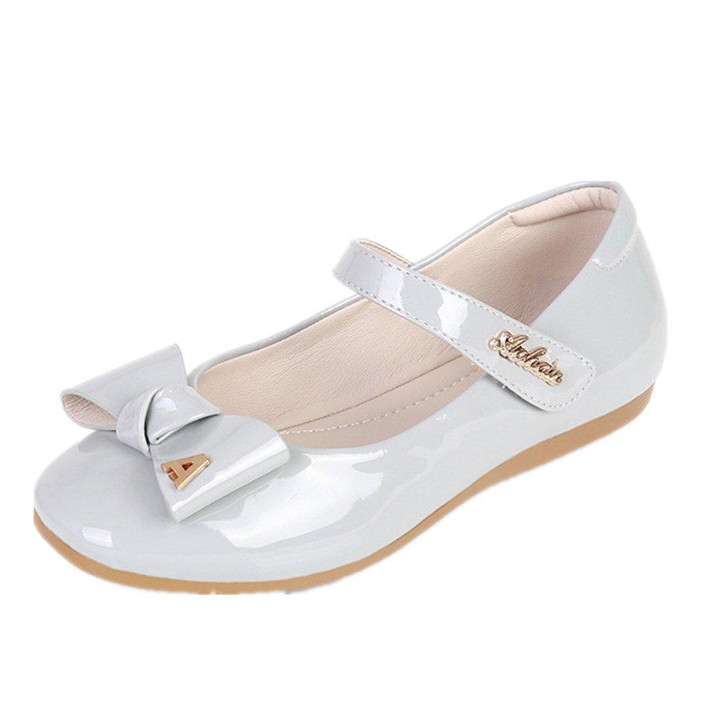 Girls Shoes Mary Jane Mid Heel Dress Shoe Party Princess Dress Shoes (Toddler, Little Kid, Big Kid) (Grey 34/2.5 M US Little Kid)