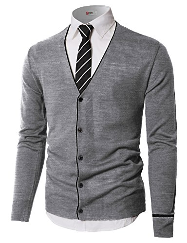 - H2H Mens Casual Color Line Fashion New Men Knitted Sweater Cardigan Gray US M/Asia L (KMOCAL0185)