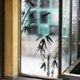 ASIBG Home Bathroom Glass Sticker Sliding Door Transparent Opaque Waterproof Window Stickers Self-Adhesive 60×116Cm (23.6×45.7Inch),Ink Painting Of Bamboo