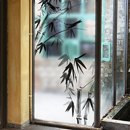 asibgホーム浴室ガラスステッカースライドドアセロファン透明不透明ウィンドウStickingガラスフィルム浴室防水ウィンドウステッカー自己粘着60 × 116 cm ( 23.6 × 45.7inch ) jwa-450 B07352HD6C  ink painting of bamboo