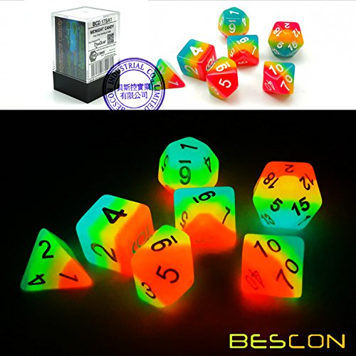 - Bescon Fantasy Rainbow Glowing Polyhedral Dice 7pcs Set Midnight Candy, Luminous RPG Dice Set Glow in Dark, Novelty DND Game Dice d4 d6 d8 d10 d12 d20 d% in Brick Box