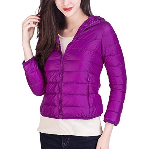 Women'S Hooded Short Down Coat Winter Warm Coat Warm Slim M Jacket PURPLE Jacket SRwSxHr