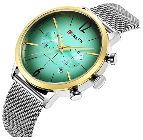 Men's Fashion Casual Analog Quartz Date Watch Waterproof Watches Male Slim Simple Stainless Steel Mesh Band Big Face Dial Chronograph Wrist Watch (Silver Green)